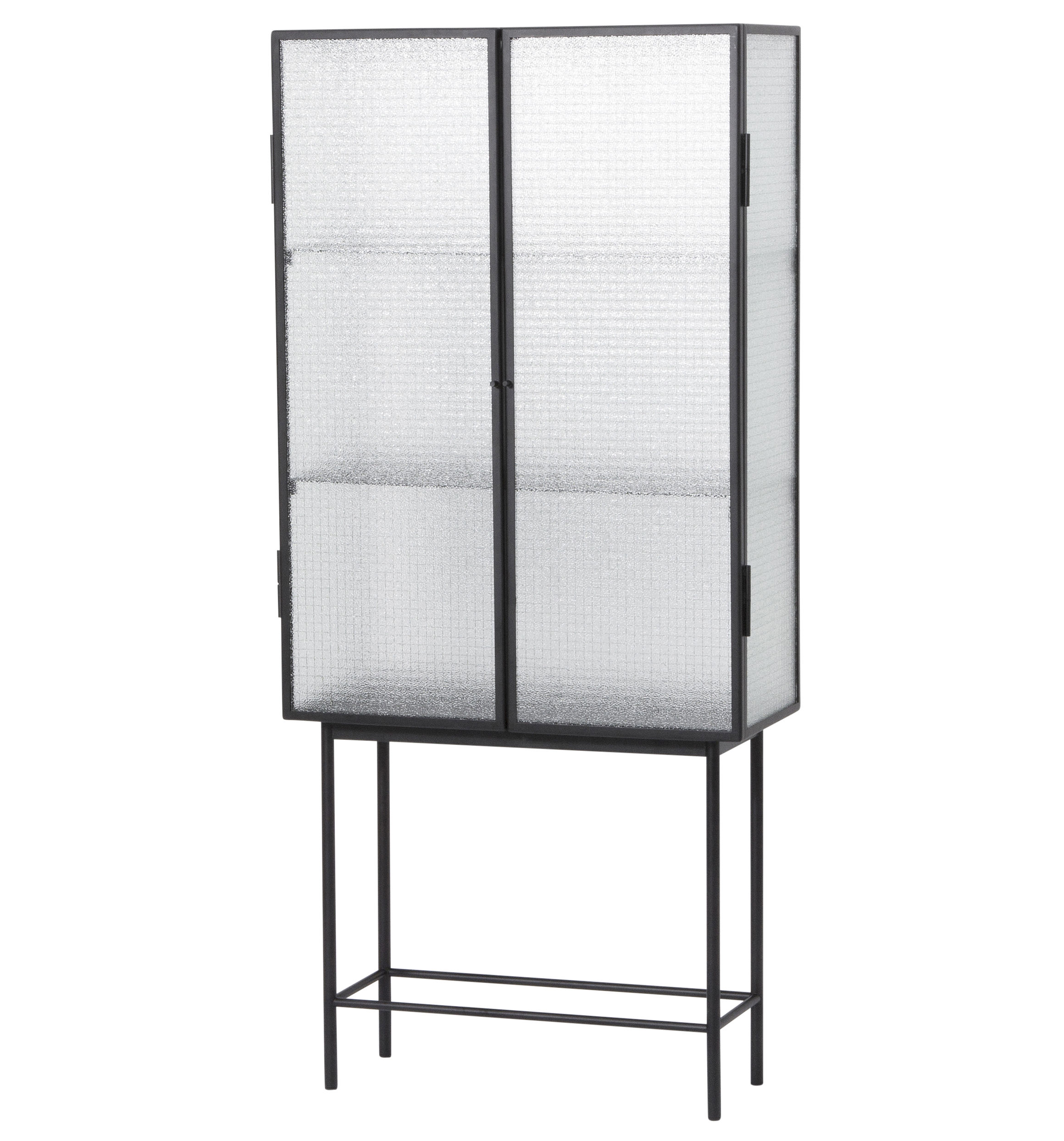 Furniture - Bookcases & Bookshelves - Haze Showcase - Glass & metal / L 70 x H 155 cm by Ferm Living - Wired glass / Black - Lacquered metal, Reinforced glass