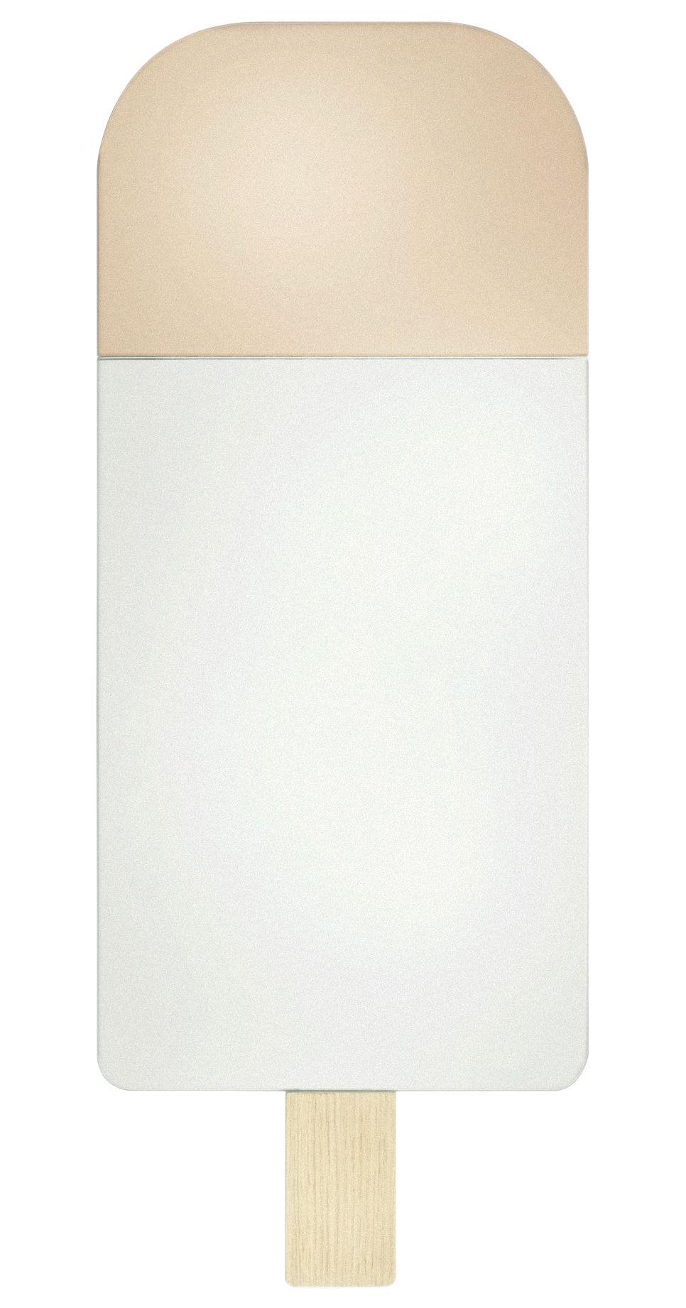 Interni - Specchi - Specchio murale Ice Cream - / H 57 cm di Elements Optimal - Rosa antico e specchio / Legno chiaro - Rovere, Vetro