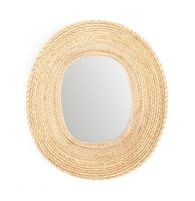 Interni - Specchi - Specchio murale Killa - Ovale / 46 x 53 cm di ames - Naturale chiaro / Rosa - Fibra di palma Iraca, Fil di ferro laccato, Vetro