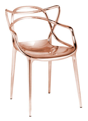 Furniture - Chairs - Masters Stackable armchair - Metallised by Kartell - Copper - Recycled thermoplastic technopolymer