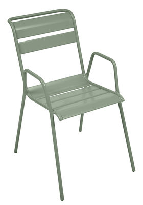 Furniture - Chairs - Monceau Stackable armchair - Metal by Fermob - Cactus - Painted steel