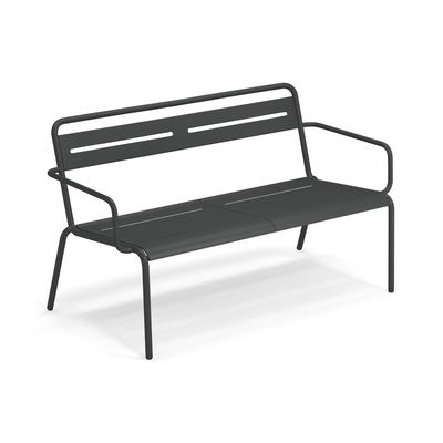 Furniture - Benches - Star Stackable bench - / With armrests - L 129 cm by Emu - Antique Iron - Galvanized sheet, Varnished steel