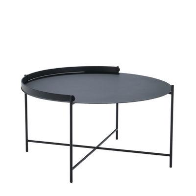Mobilier - Tables basses - Table basse Edge / Poignée rabattable - Ø 76 x H 40 cm - Houe - Noir - Métal thermolaqué