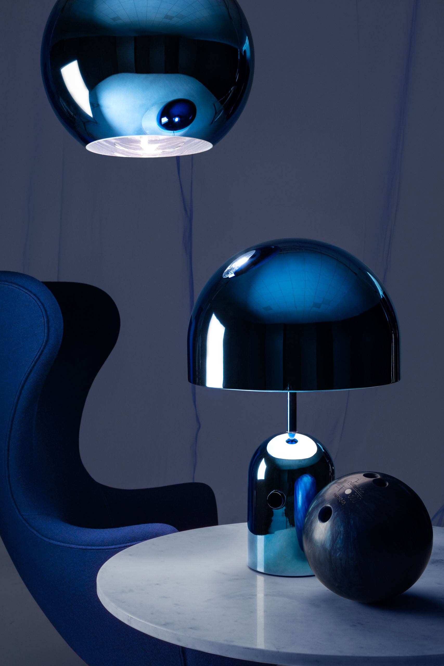Table Lamp Bell Large By Tom Dixon Metallic Blue L 200 X H 65 X