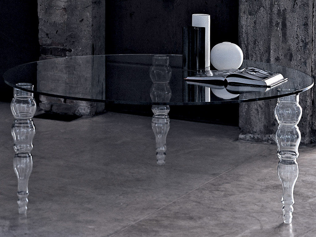 Furniture - Dining Tables - Post Modern Table by Glas Italia - Round top - Ø 140 cm - Glass