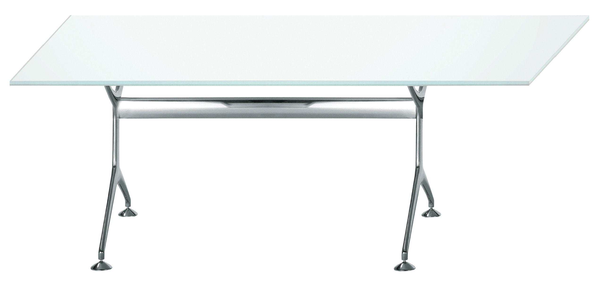 Mobilier - Bureaux - Table rectangulaire Frametable / 160 x 80 cm - Alias - Structure en aluminium poli / Plateau en verre - Aluminium poli, Verre