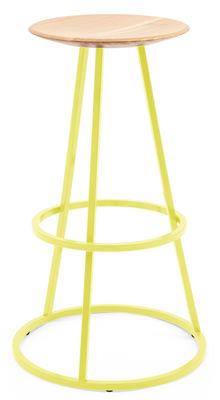 Tabouret de bar Grand Gustave H 65 cm Métal bois Hartô jaune citron en métal