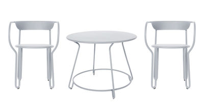 Huggy Tisch und Sitzgarnitur / Tisch Ø 100 cm + 2 Sessel - Maiori - Frostgrau