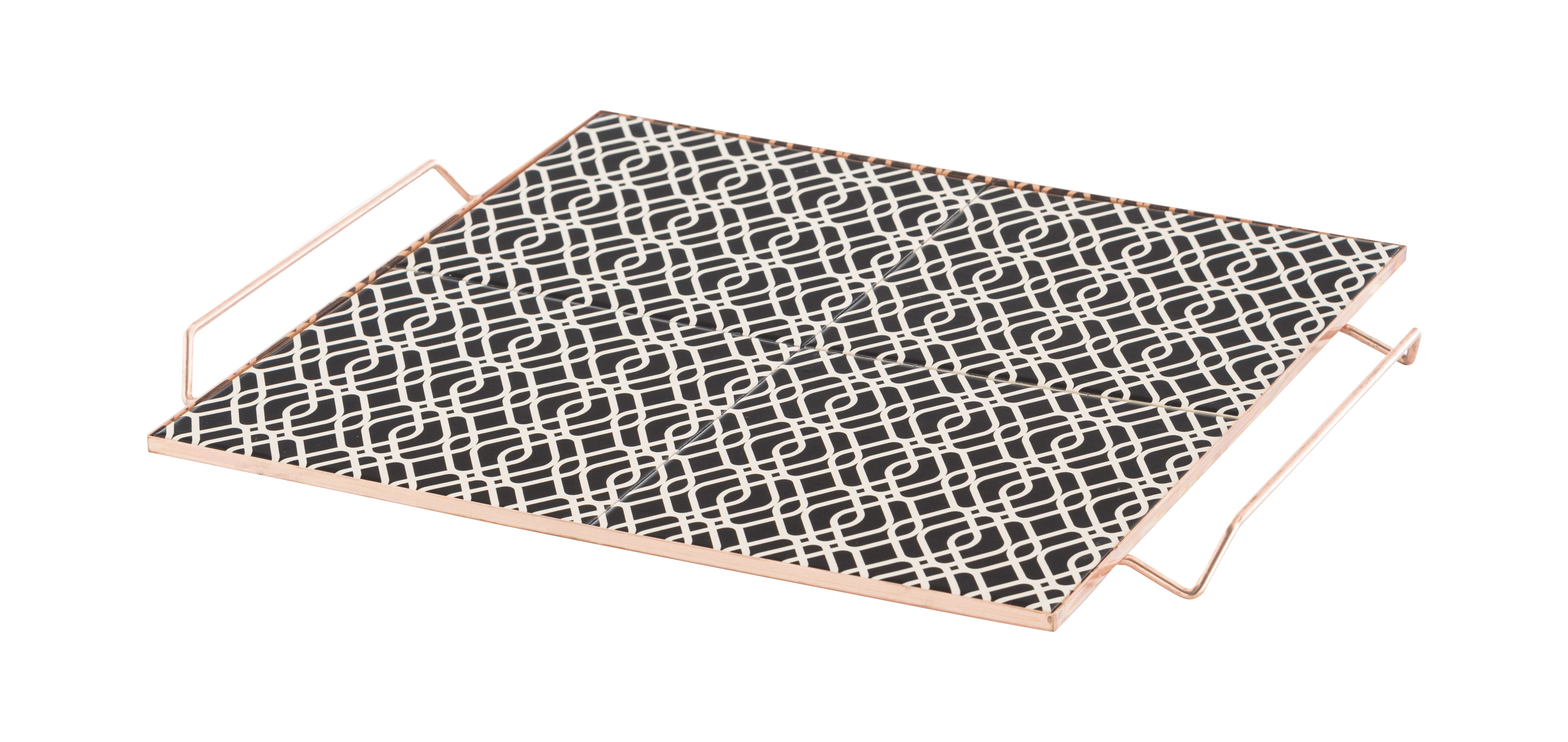 Tableware - Trays - Mix&Match Tray - 40 x 40 cm / Ceramic & copper by Gan - Black & white - Ceramic, Copper plated aluminium