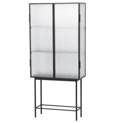 Möbel - Regale und Bücherregale - Haze Vitrine / L 70 cm x H 155 cm - Drahtglas & Metall - Ferm Living - Transparentes Glas / schwarz - Drahglas, lackiertes Metall