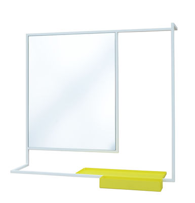 Decoration - Mirrors - Romi Wall mirror - Removable shelf - 78 x 60 cm by Presse citron - White / Yellow shelf - Glass, Lacquered steel