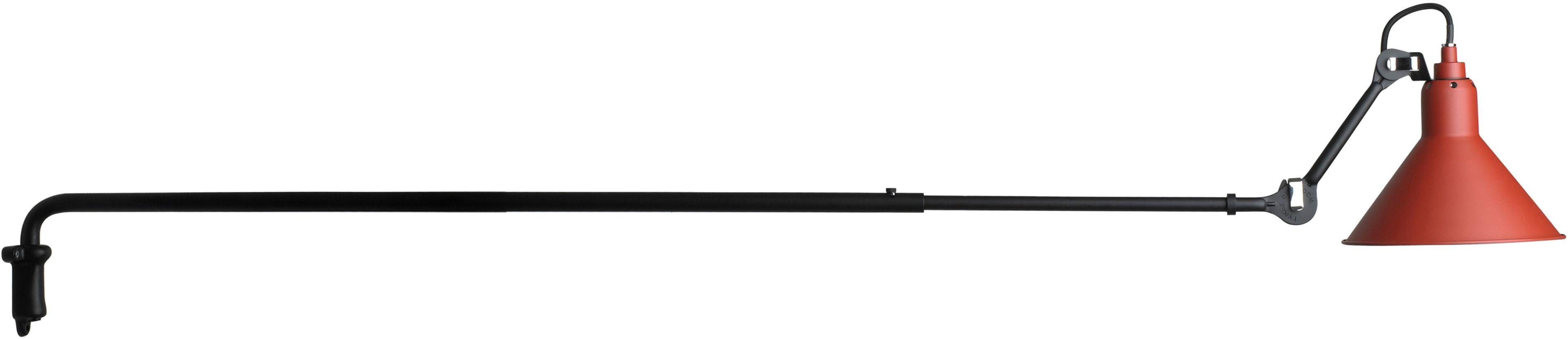 Leuchten - Wandleuchten - N°213 Wandleuchte / mit Teleskoparm - DCW éditions - Rot satiniert (matt) / schwarz-matt - Stahl