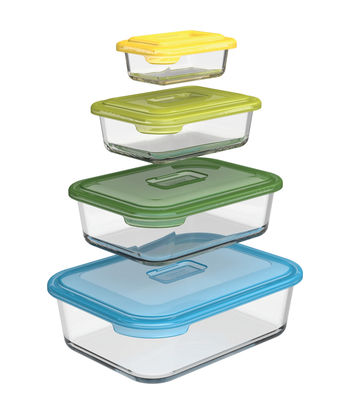 Tableware - Serving Plates - Nest glass storage Airtight box - Glass - Set of 4 by Joseph Joseph - Multicolore - Borosilicated glass, BPA-free plastic