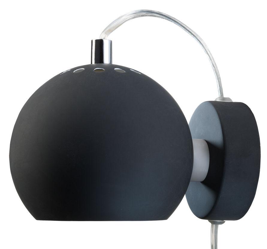 Luminaire - Appliques - Applique avec prise Ball / Ø 12 cm - Réédition 1968 - Frandsen - Noir mat - Métal verni