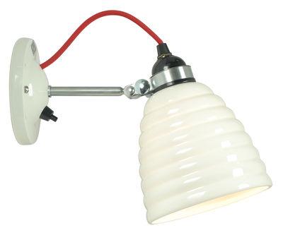 Luminaire - Appliques - Applique Hector Bibendum / Porcelaine striée - Branchement mur - Original BTC - Blanc strié / Acier & câble rouge - Métal, Porcelaine