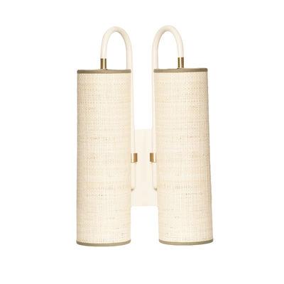Luminaire - Appliques - Applique Tokyo Double / Rabane - H 42 cm - Maison Sarah Lavoine - Rabane naturelle / Blanc - Acier thermolaqué, Rabane