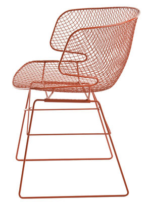 Furniture - Chairs - Arkys Armchair - Metal by Eumenes - Orange structure / Orange shell - Varnished galvanized steel