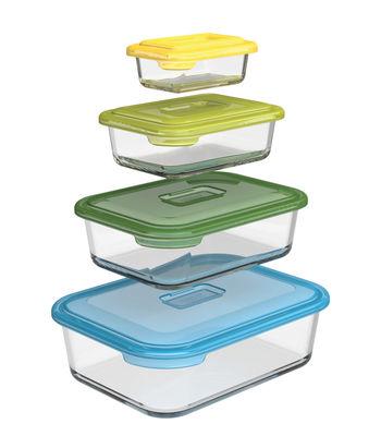 Arts de la table - Plats - Boîte hermétique Nest glass storage / Plat à four en verre - Set de 4 - Joseph Joseph - Multicolore - Plastique sans BPA, Verre borosilicaté