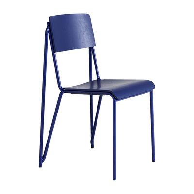 Chaise empilable Petit standard / Acier & bois - Hay bleu en bois