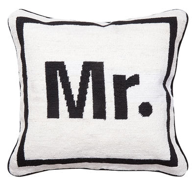 Decoration - Cushions & Poufs - Mr Cushion - 41 x 41 cm by Jonathan Adler - Mr / Black and White - Wool