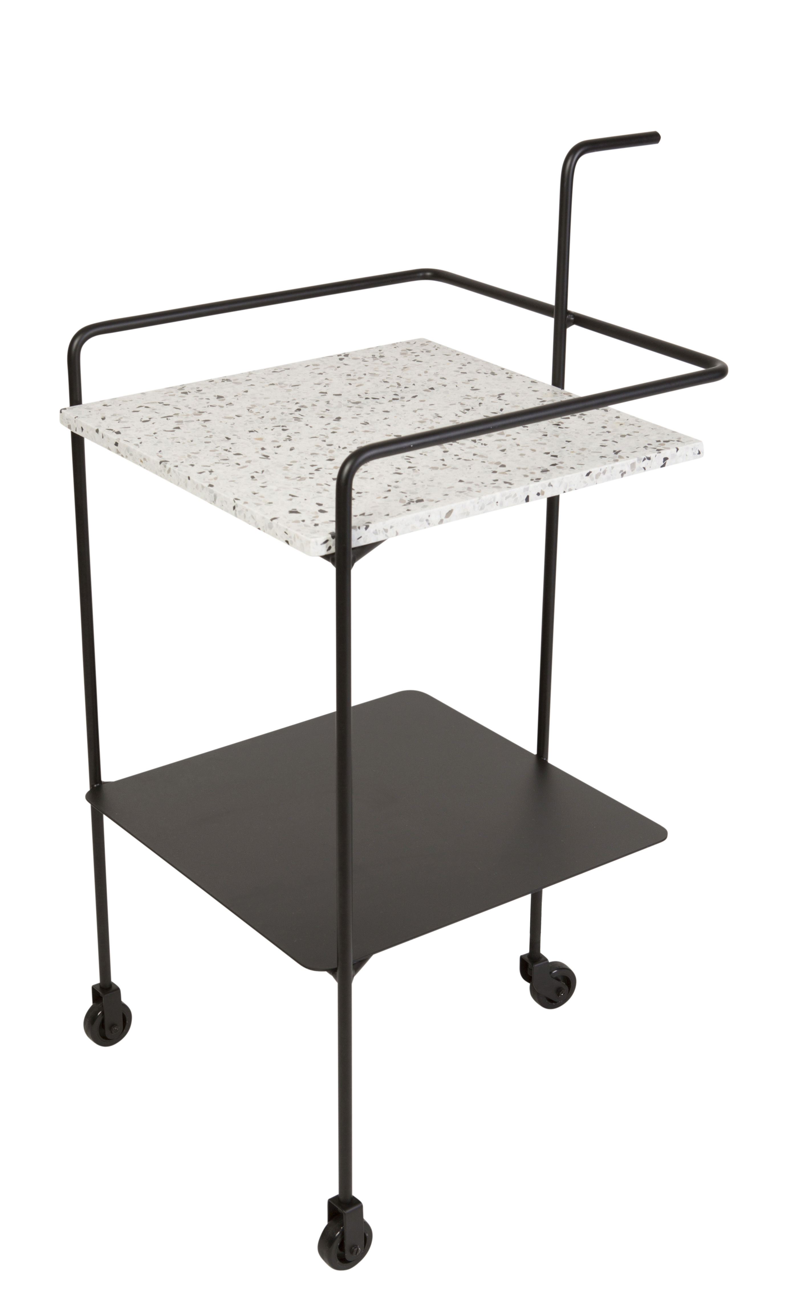 Furniture - Miscellaneous furniture - Confetti Dresser - On wheels by OK Design pour Sentou Edition - Black / Black & white tray - Epoxy lacquered metal, Terrazzo