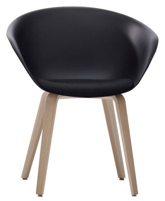 Chaise Duna 02 / Pieds bois - Coussin d´assise - Arper noir,chêne blanchi en matière plastique