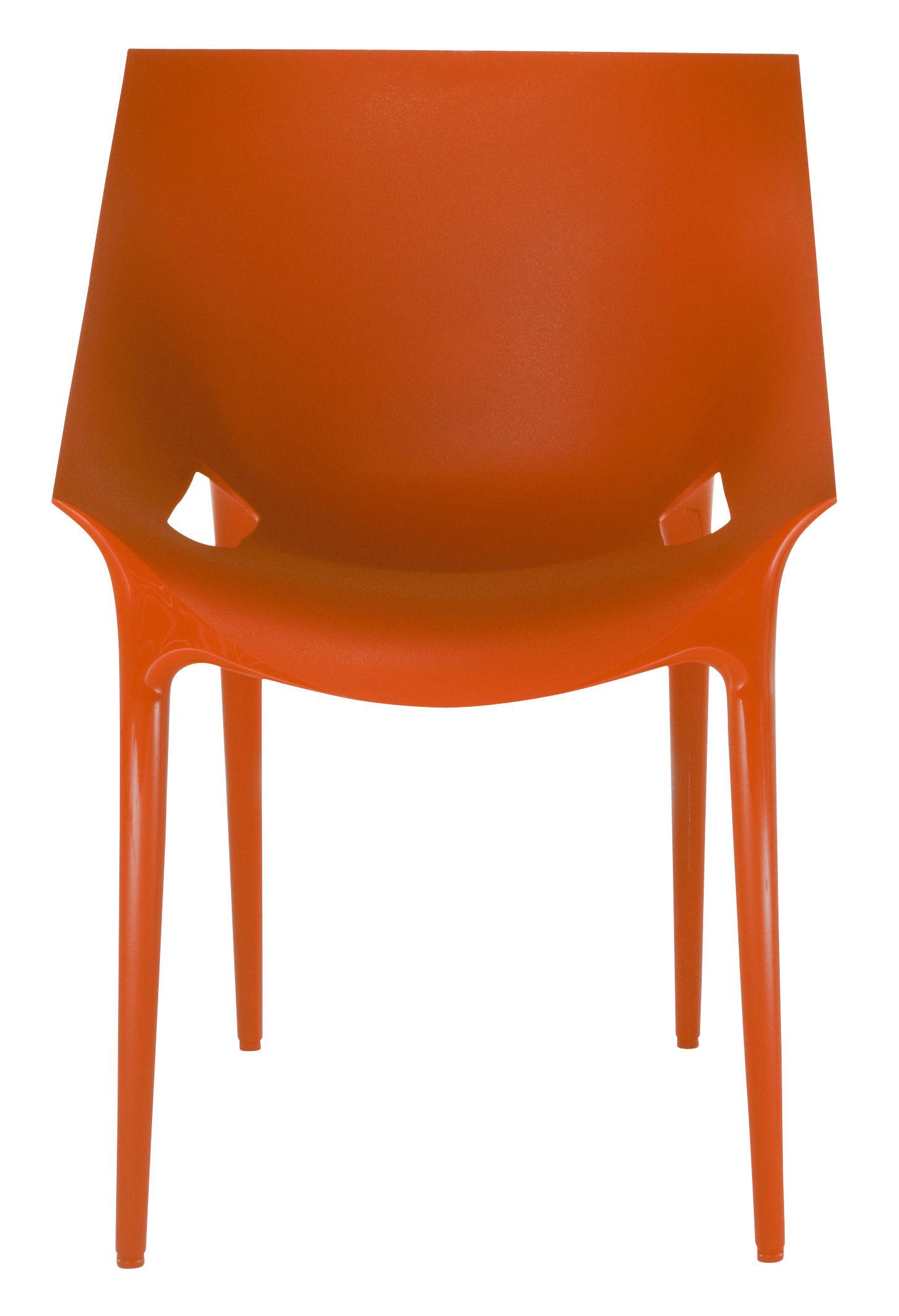 Mobilier - Chaises, fauteuils de salle à manger - Fauteuil empilable Dr. YES / Polypropylène - Kartell - Rouge orangé - Polypropylène