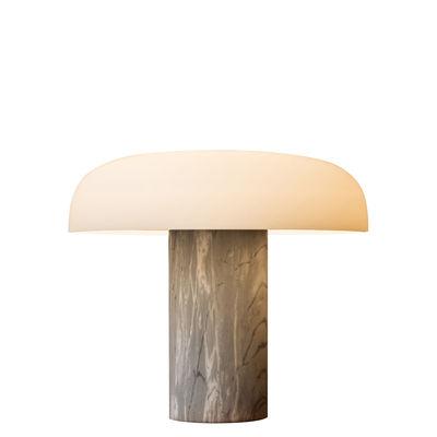 Illuminazione - Lampade da tavolo - Lampada da tavolo Tropico Media - / LED - H 32 cm / Vetro & marmo di Fontana Arte - Marbre gris - Marmo, Metallo galvanizzato, vetro soffiato
