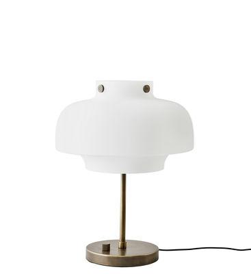 Lampe de table Copenhague SC13 / LED - Ø 33 cm - Verre - &tradition bronze,blanc opalin en métal