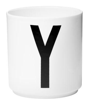 Mug Arne Jacobsen / Porcelaine - Lettre Y - Design Letters blanc en céramique