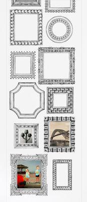 Papier peint Cadres verticaux / 1 lé - Domestic blanc/noir en papier
