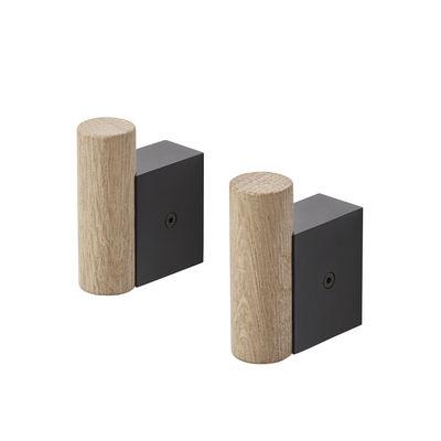 Mobilier - Portemanteaux, patères & portants - Patère Hook / Set de 2 - Muuto - Noir - Aluminium, Chêne