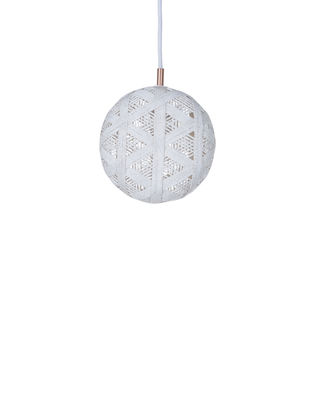 Lighting - Pendant Lighting - Chanpen Hexagon Pendant - Ø  19 cm by Forestier - White / Triangle patterns - Woven acaba