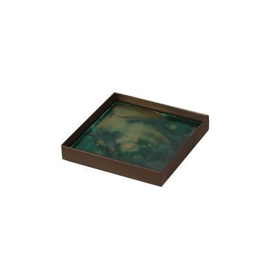 Image of Piano/vassoio Malachite Organic - / Svuota-tasche - 16 x 16 cm / Vetro dipinto a mano di Ethnicraft - Verde - Vetro