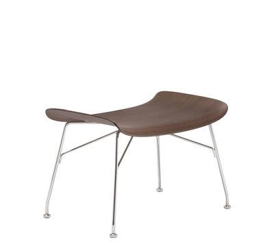 Arredamento - Pouf - Poggiapiedi K/Wood - / Legno modellato di Kartell - Faggio scuro / Piede cromato - Acciaio cromato, Compensato di faggio sagomato verniciato scuro
