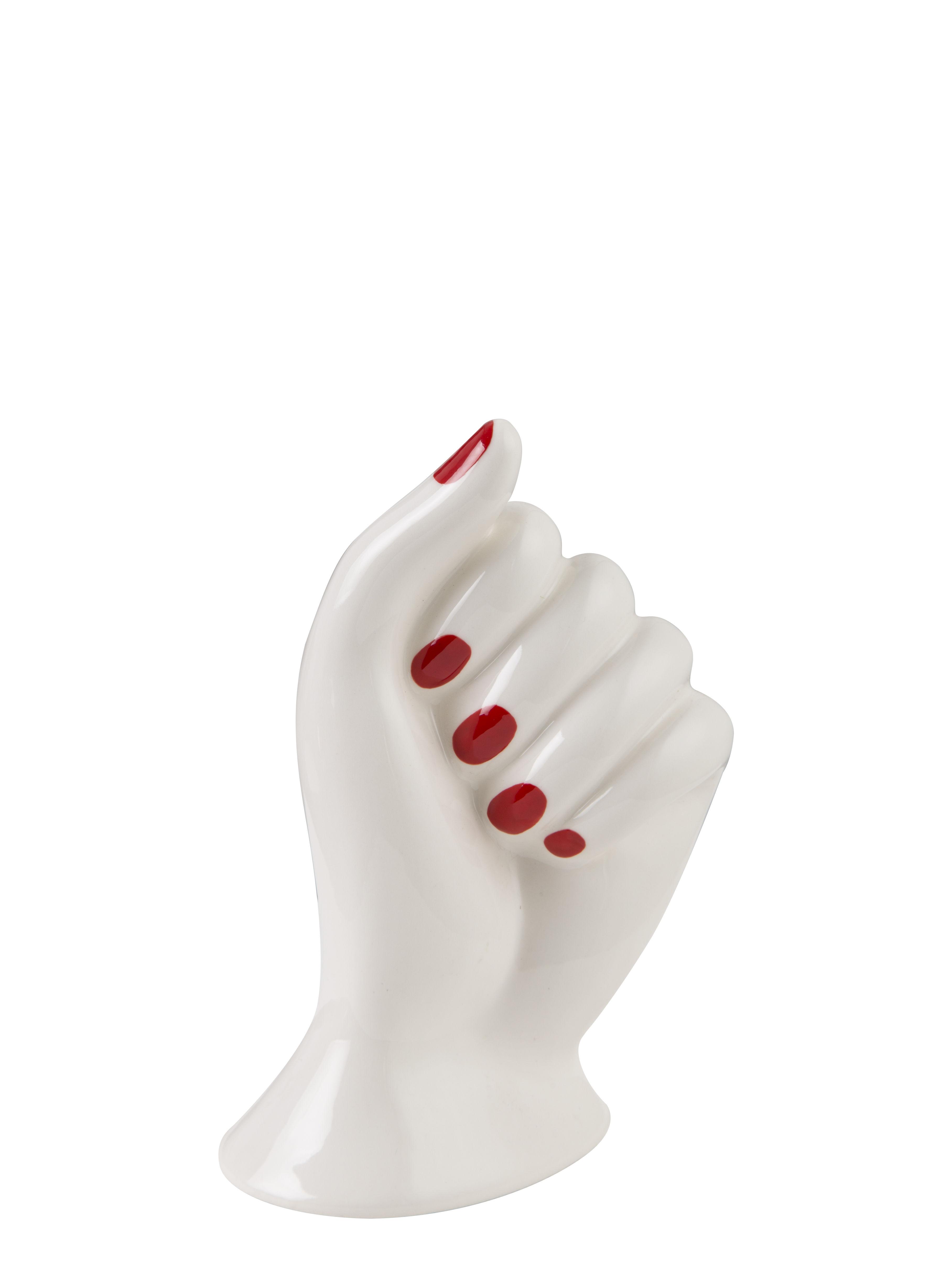 Dekoration - Vasen - Mano Soliflore / Porzellan - Bitossi Home - Weiß & rot - Porzellan
