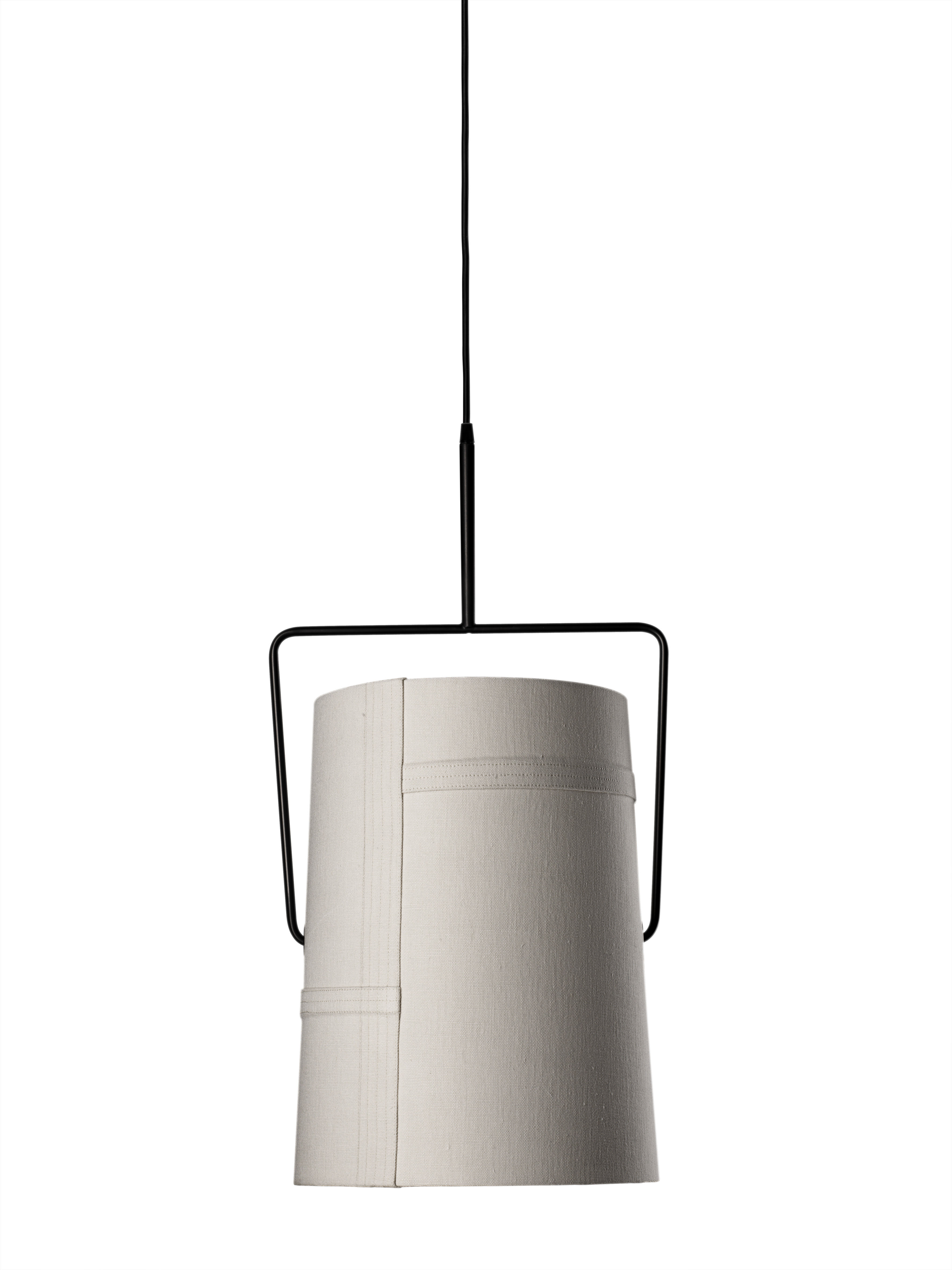 Illuminazione - Lampadari - Sospensione Fork grande di Diesel with Foscarini - Avorio - Ø 37 cm x H 70 cm - Metallo anodizzato, Tessuto