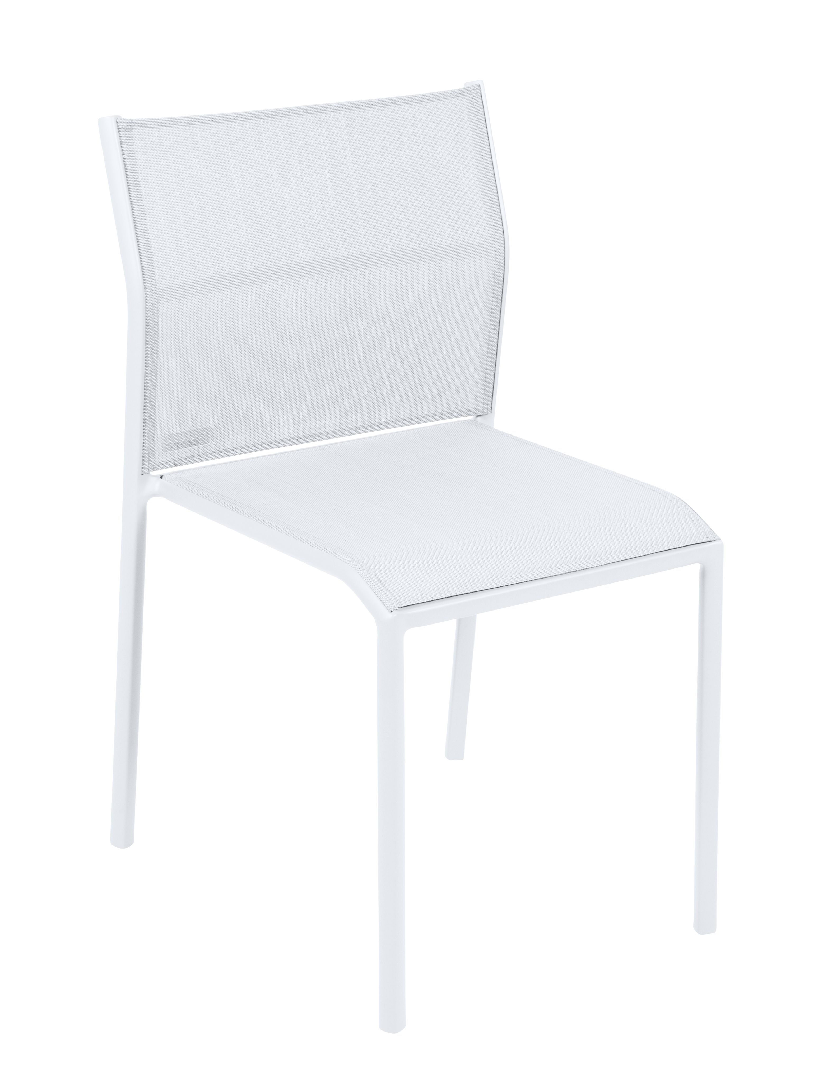 Furniture - Chairs - Cadiz Stacking chair - / Cloth by Fermob - Cotton white - Batyline® fabric, Lacquered aluminium