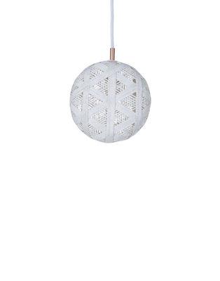 Luminaire - Suspensions - Suspension Chanpen Hexagon / Ø  19 cm - Forestier - Blanc / Motifs triangles - Abaca tissé