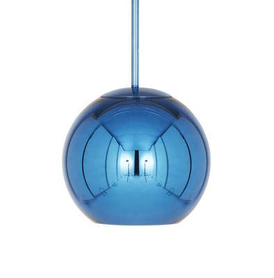 Luminaire - Suspensions - Suspension Copper Round / Ø 25 cm - Tom Dixon - Bleu métallisé - Polycarbonate