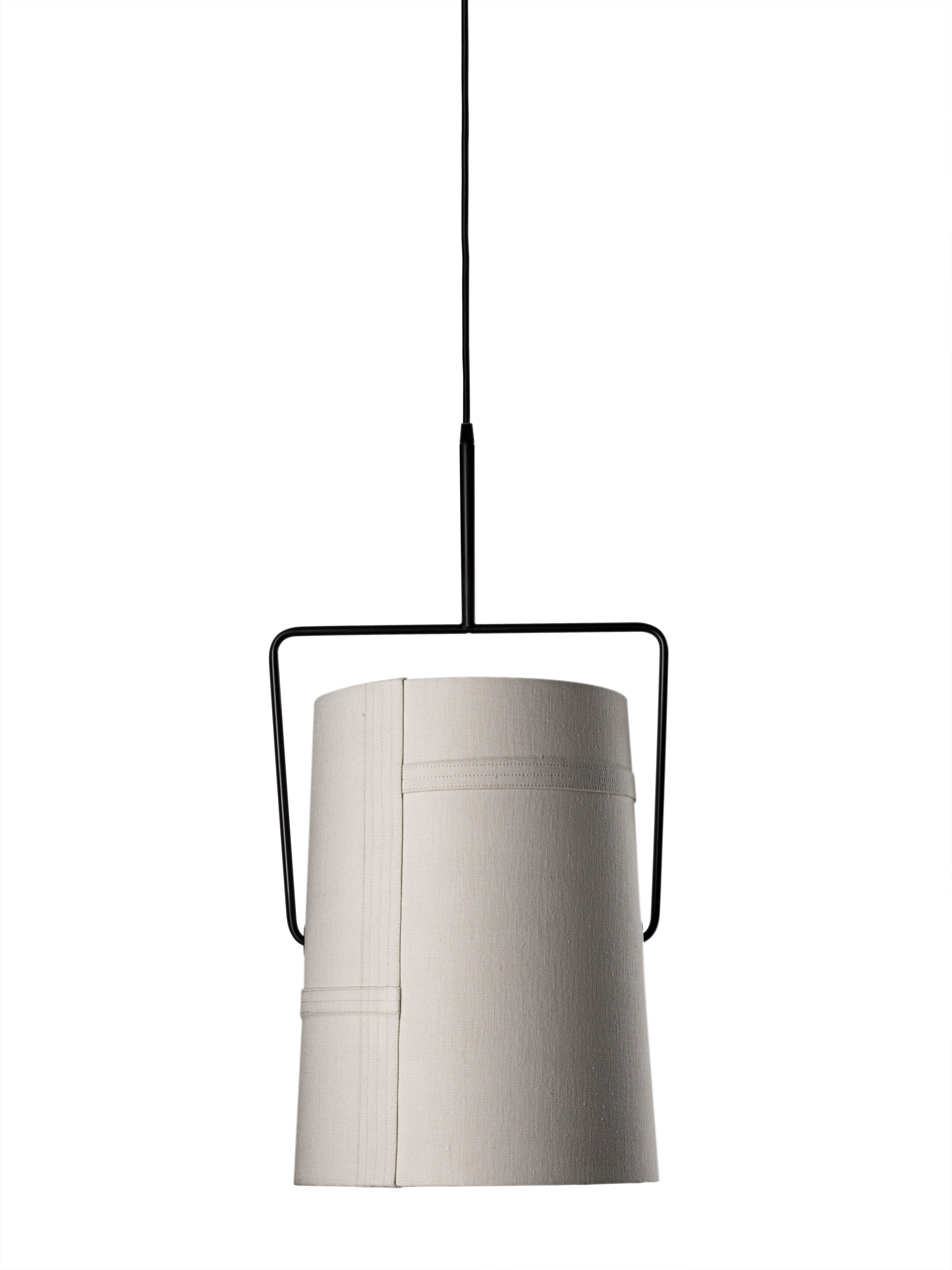 Luminaire - Suspensions - Suspension Fork grande Ø 37 cm x H 70 cm - Diesel with Foscarini - Ivoire - Ø 37 cm x H 70 cm - Métal anodisé, Tissu