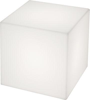 Table basse lumineuse Cubo LED / 50 cm - Sans fil - Slide blanc en matière plastique