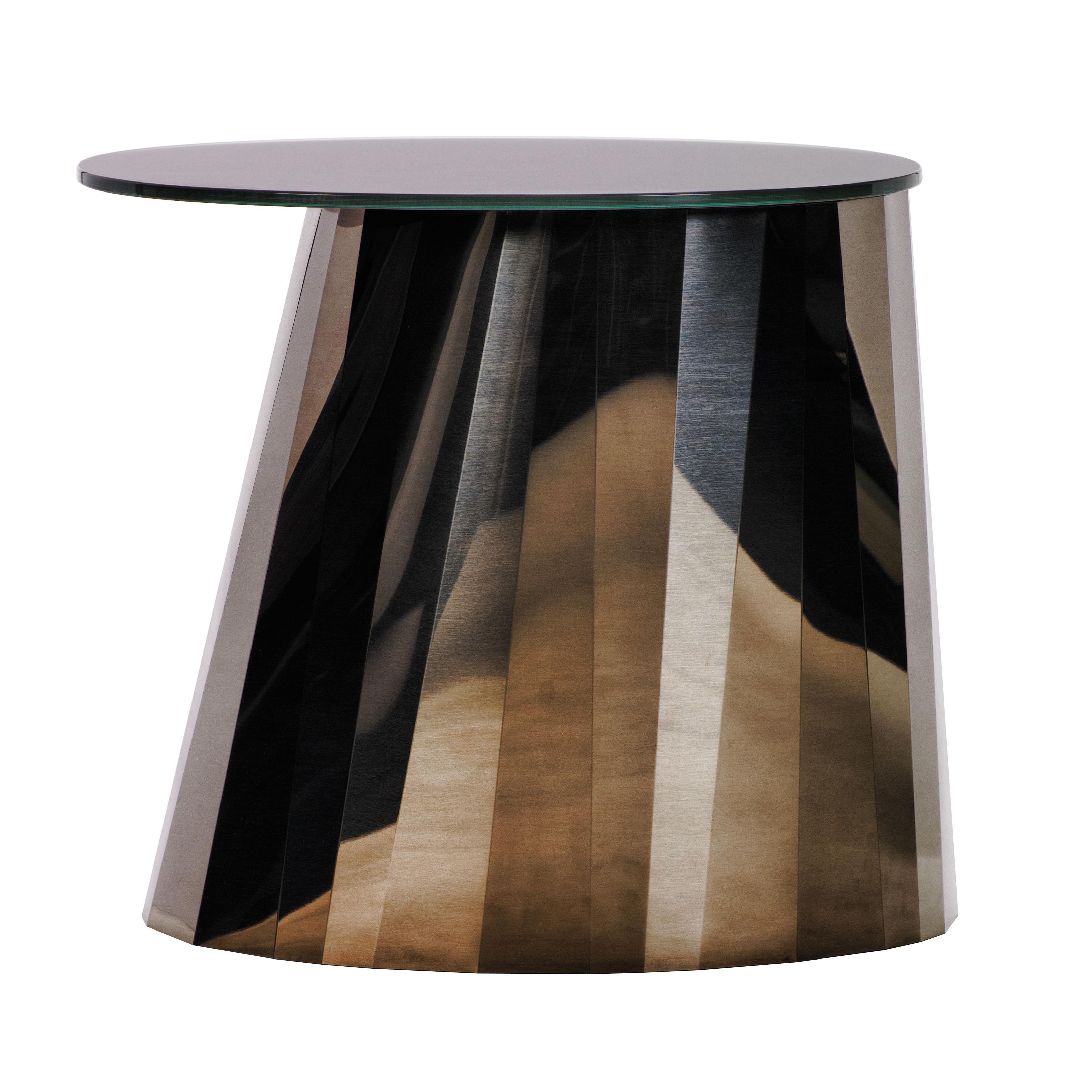 Mobilier - Tables basses - Table d'appoint Pli / H 48 cm - Métal & verre - ClassiCon - Bronze métallisé - Acier inoxydable, Verre laqué