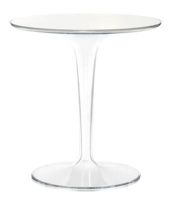 Table d'appoint Tip Top Glass / Plateau verre - Kartell blanc en verre/matière plastique