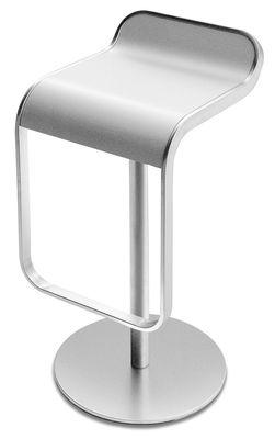 Tabouret haut réglable Lem / Assise bois pivotante - Lapalma blanc en métal/bois