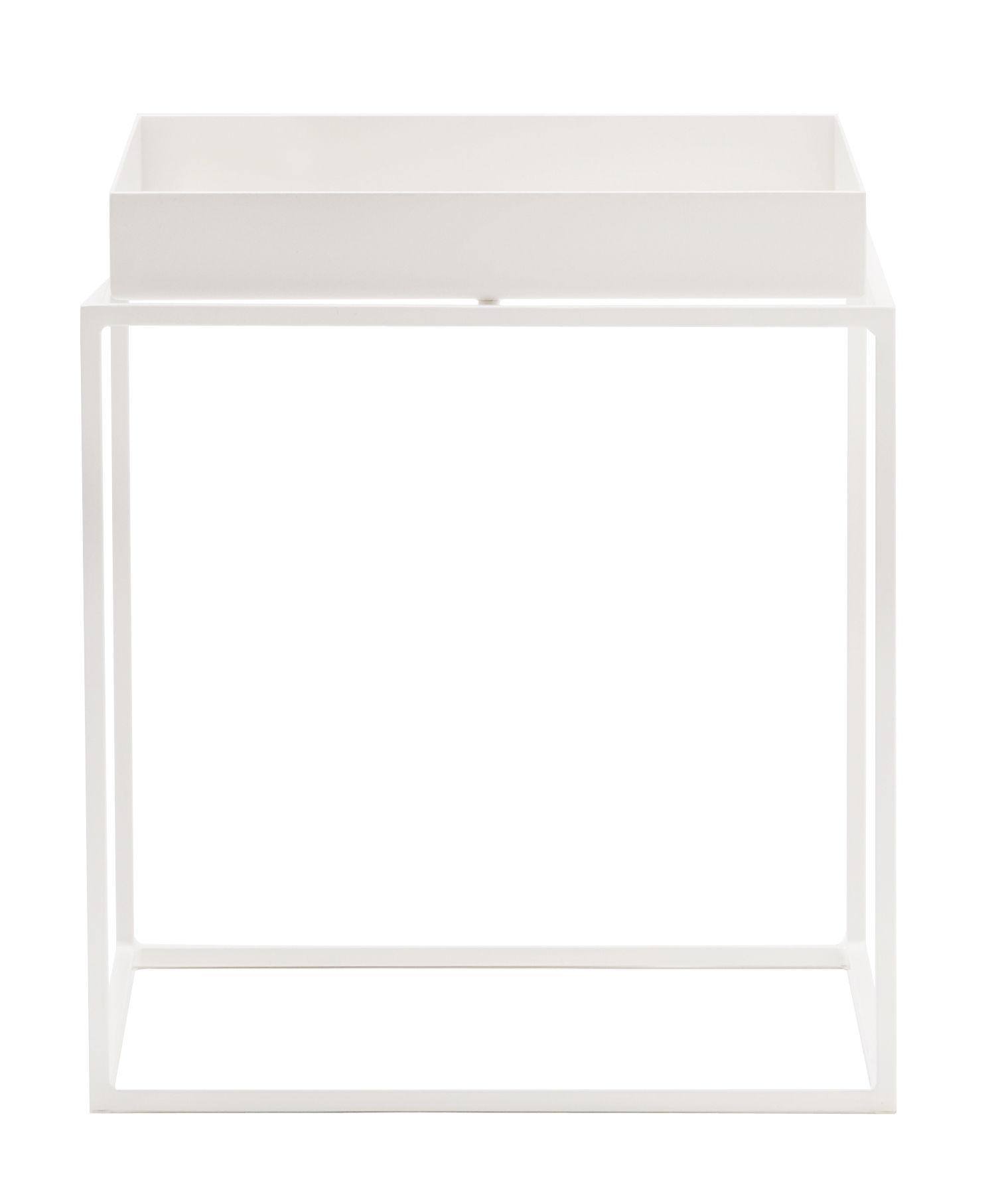 Arredamento - Tavolini  - Tavolino Tray - h 40 cm - 40 x 40 cm di Hay - Bianco - Acciaio laccato