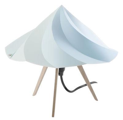 Leuchten - Tischleuchten - Chantilly Small Tischleuchte / H 28 cm - Moustache - Blau - Recyceltes Polypropylen, Vielschicht-Sperrholz in Eiche