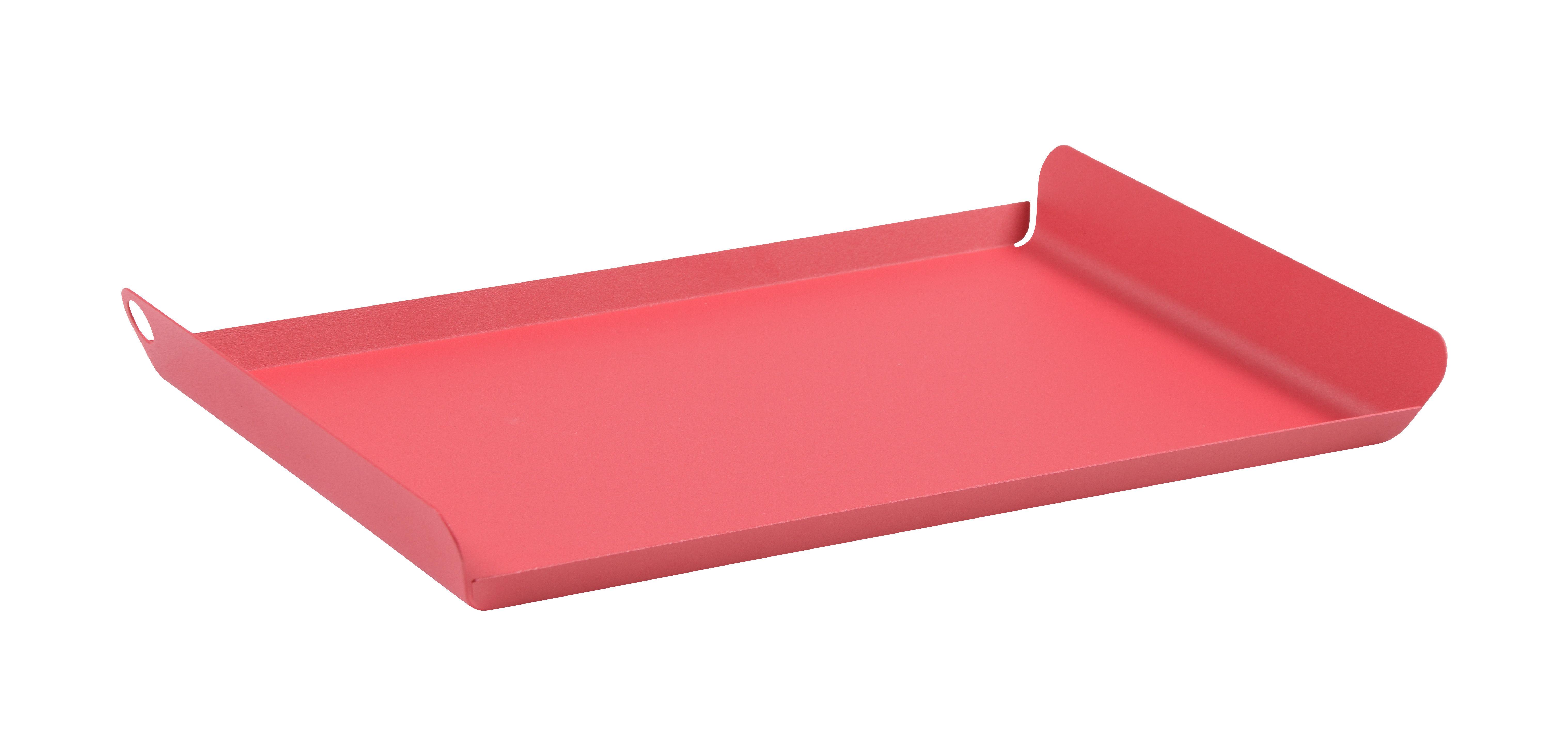 Tableware - Trays - Alto Tray - / Steel - 36 x 23 cm by Fermob - Praline pink - Electro-galvanized steel