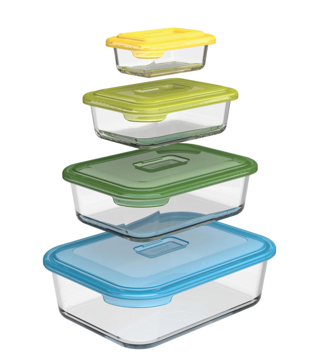 Tischkultur - Platten - Nest glass storage Vorratsdose / Glas-Auflaufform - 4er-Set - Joseph Joseph - Mehrfarbig - Kunststoff ohne BPA, Verre borosilicaté
