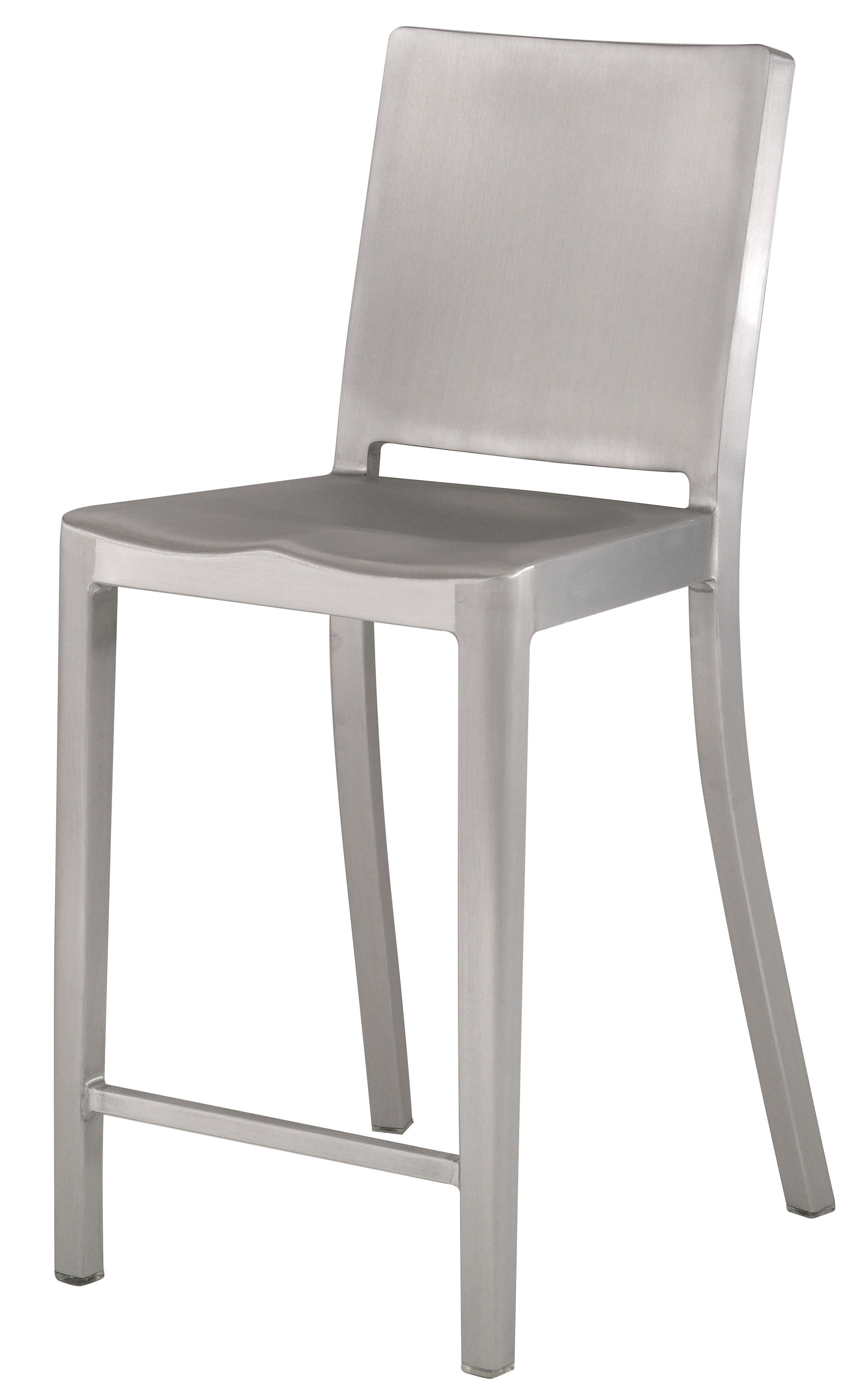Furniture - Bar Stools - Hudson Outdoor Bar chair - H 61 cm - Metal by Emeco - Brushed aluminium - Recycled brushed aluminium